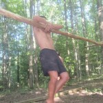 Lifting myself up into the tree-bar