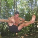 Swinging the leg to gain momentum